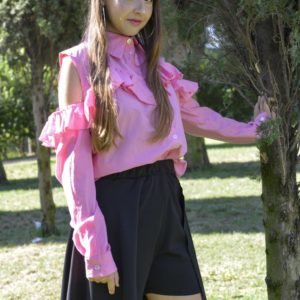 'Adios' Frilly tailor shirt in Pink cover