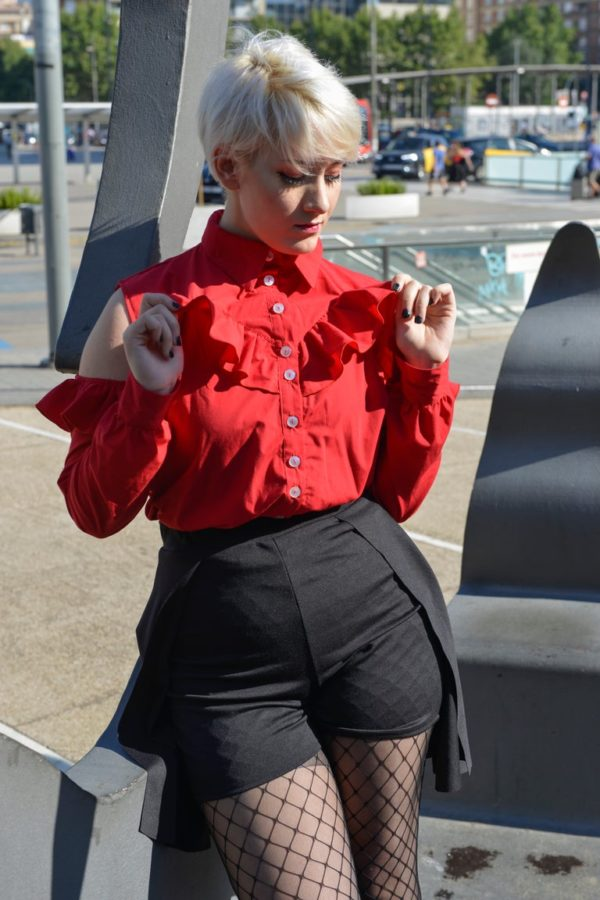 'Adios' Frilly tailor shirt in Red detail 2