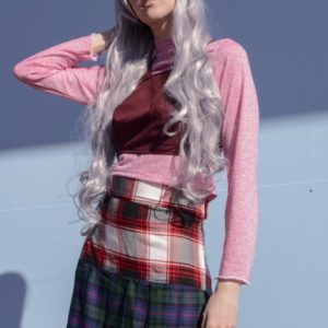 Glitchin Over plaid combined Skirt cover