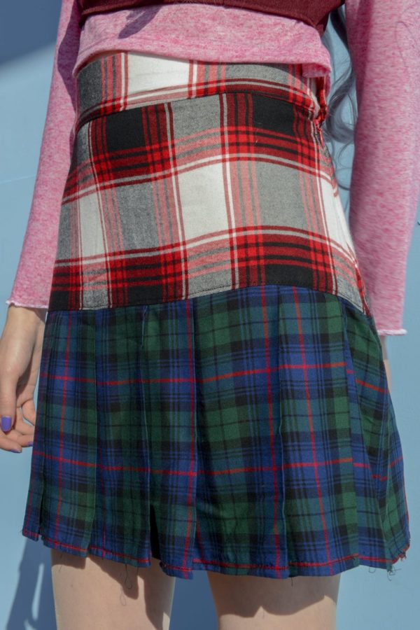 Glitchin Over plaid combined Skirt detail 1