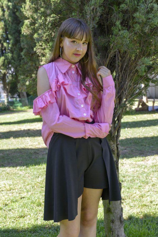 'Adios' Frilly tailor shirt in Pink detail 1