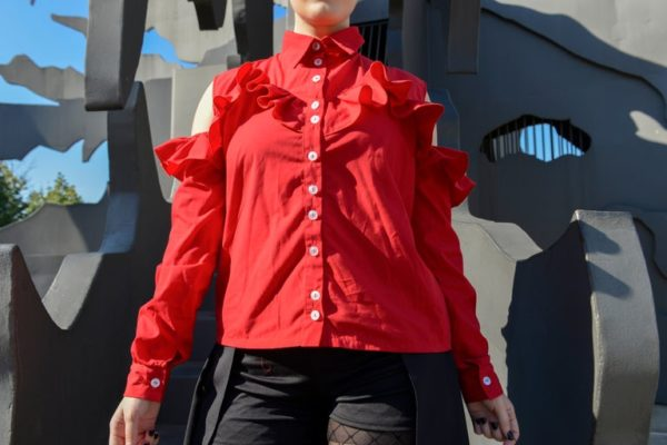 'Adios' Frilly tailor shirt in Red detail 1