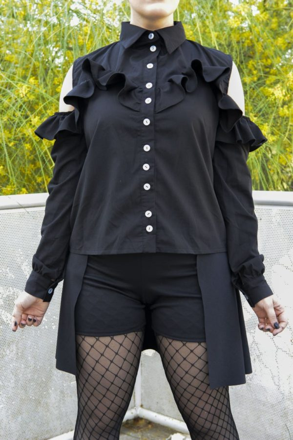 'Adios' Frilly tailor shirt in black detail 1