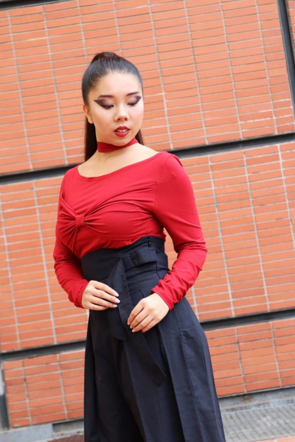 Bowie Choker Top in Red detail 2
