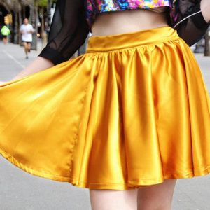 Bubble era golden flared skirt cover