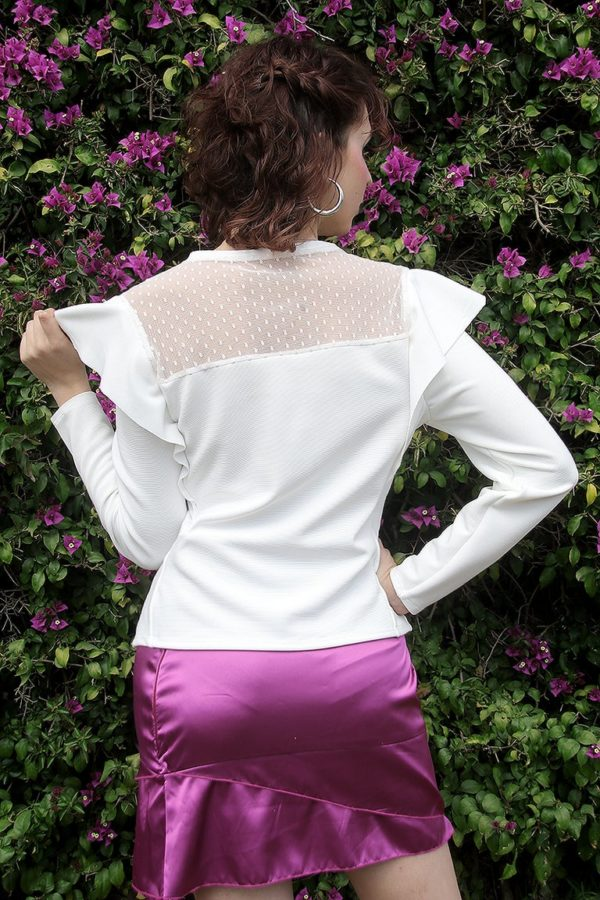 Creamy Lavender white top detail 3