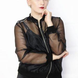 Ddu Ddu transparent organza bomber jacket cover