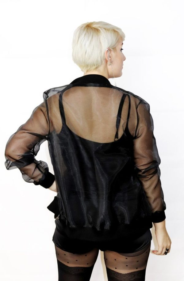 Ddu Ddu transparent organza bomber jacket detail 2
