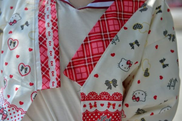 Hello Kitty Japanese fabric made Haori detail 1