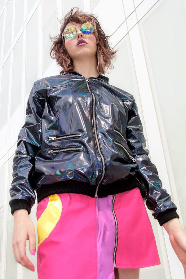 Holotastic black holographic deluxe Jacket detail 2