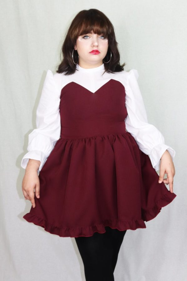 Imadoki Urban Lolita dress in burgundy cover