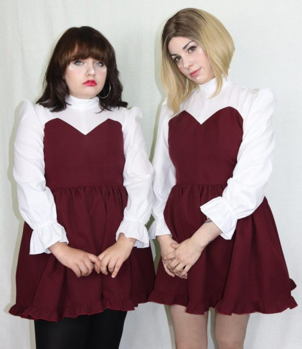 Imadoki Urban Lolita dress in burgundy detail 1