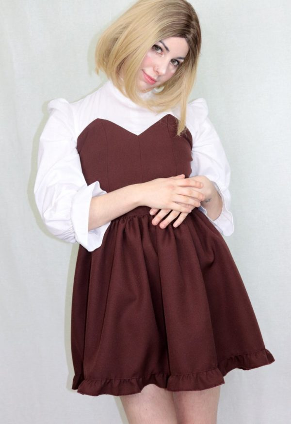 Imadoki Urban Lolita dress in chocolate brown cover