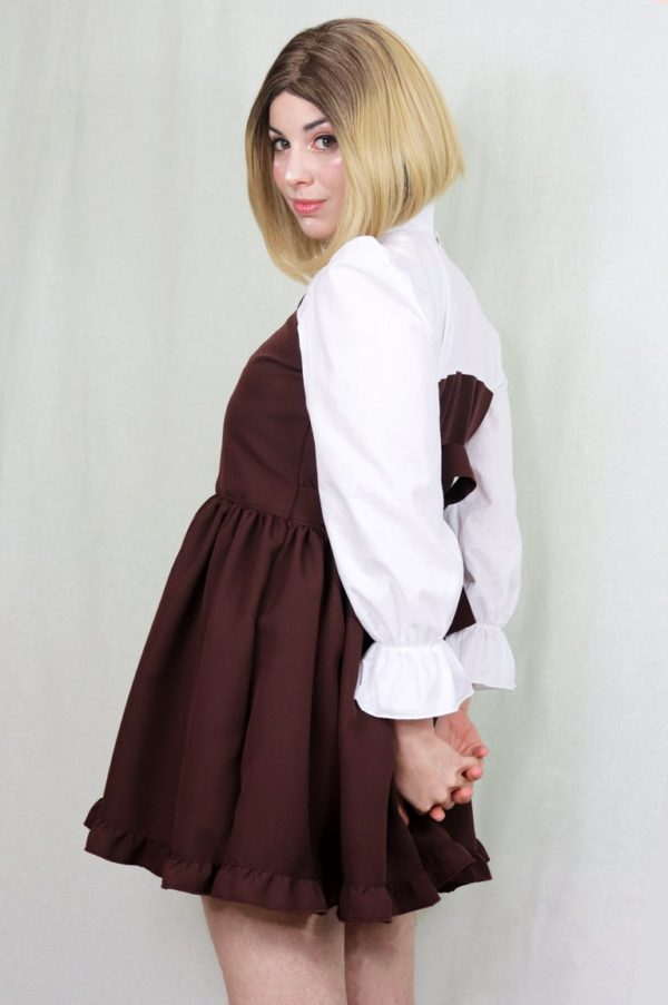 Imadoki Urban Lolita dress in chocolate brown detail 1