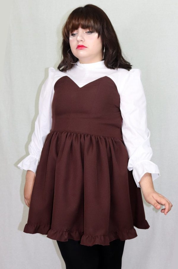 Imadoki Urban Lolita dress in chocolate brown detail 2