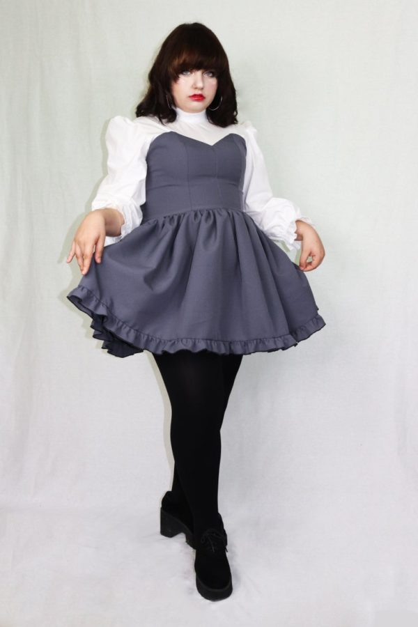 Imadoki Urban Lolita dress in gray detail 1