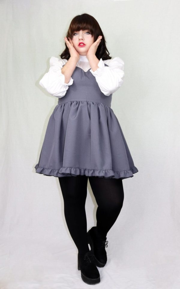 Imadoki Urban Lolita dress in gray detail 4