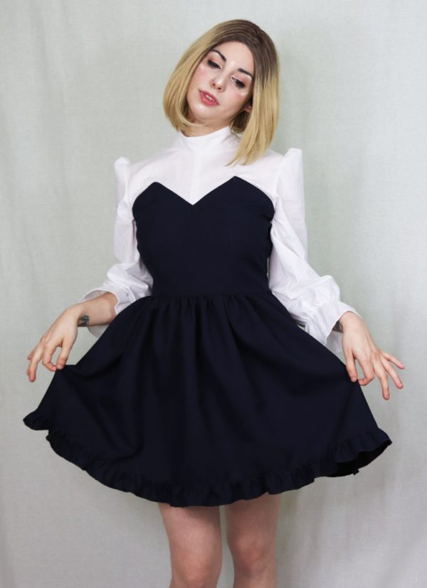 Imadoki Urban Lolita dress in navy blue cover