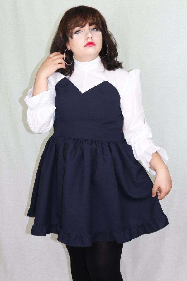 Imadoki Urban Lolita dress in navy blue detail 2