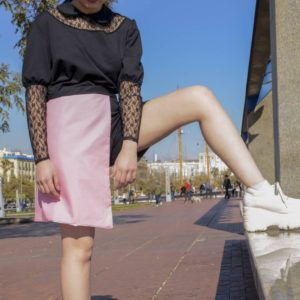 Lacey Bat elastic pantskirt in pink cover