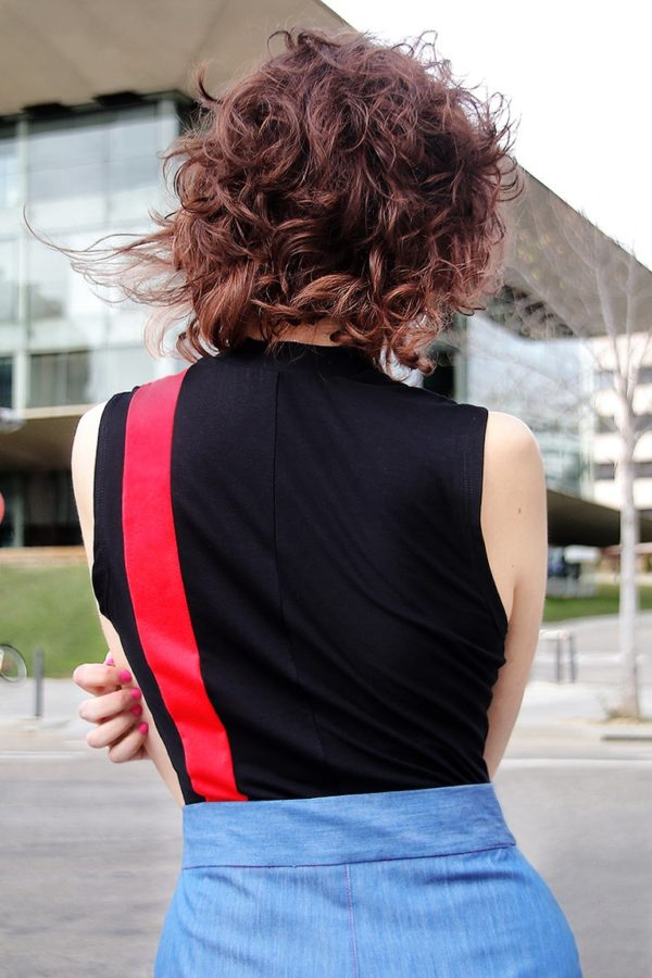 Neo-Tokyo red and black striped bodysuit detail 2