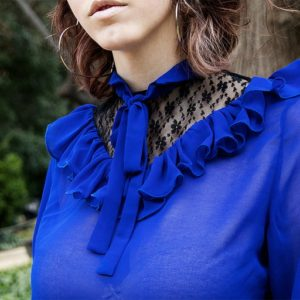 Poppy Bi-to electric blue flared Blouse cover
