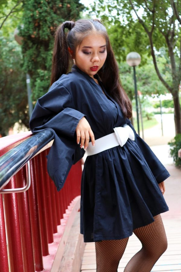 Urban Black Kimono Dress detail 4