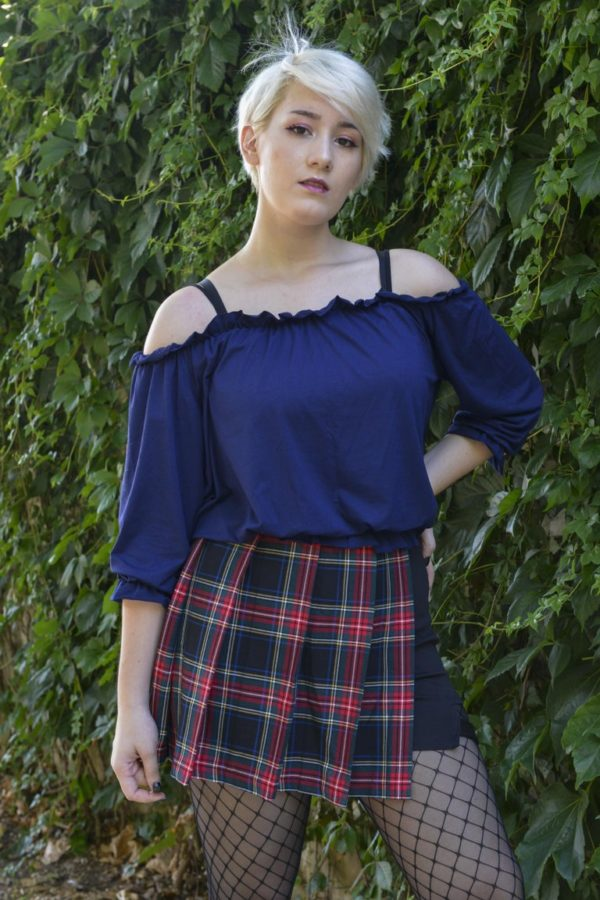 Wee Woo elastic flared french sleeve shirt in navy blue detail 1