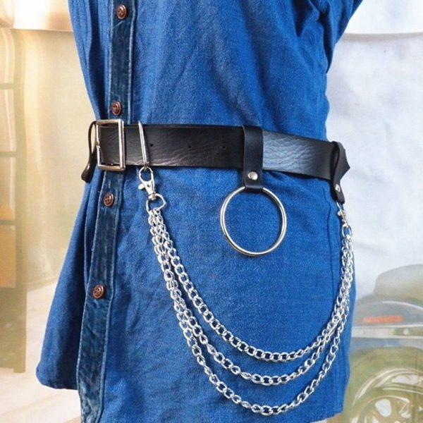 Black leather chain belt detail 2
