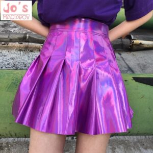 Holographic Pleated skirt in pink cover