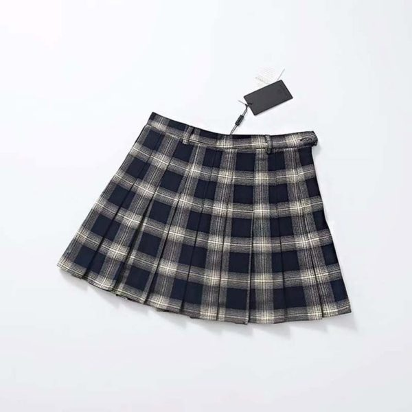 Plaid soft tennis skirt black
