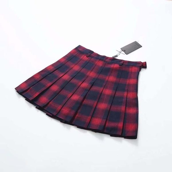Plaid soft tennis skirt red