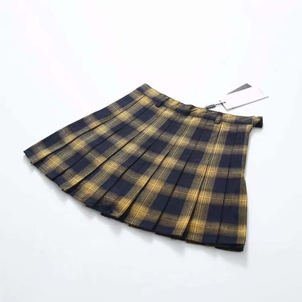 Plaid soft tennis skirt yellow