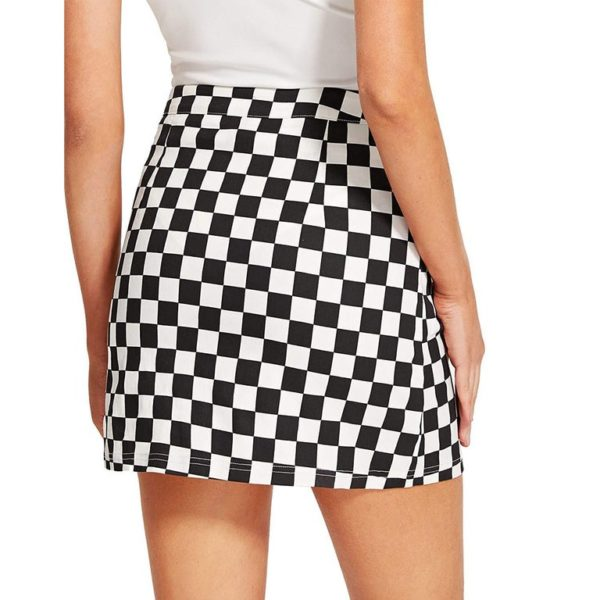Racing pattern A lined zipper skirt detail 1