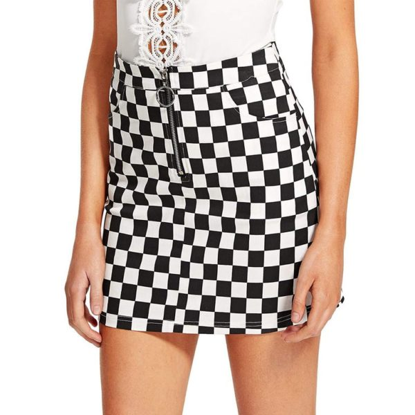 Racing pattern A lined zipper skirt detail 2