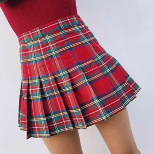 Red tartan basic soft pleated skirt cover