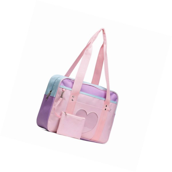 School style ita bag in mixed pink-purple cover